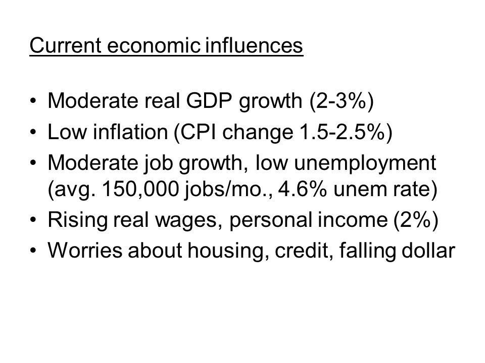 Current economic influences Moderate real GDP growth (2-3%) Low inflation (CPI change 1.5-2.5%) Moderate job growth, low unemployment (avg.