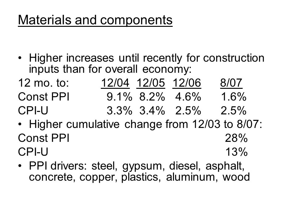Materials and components Higher increases until recently for construction inputs than for overall economy: 12 mo.