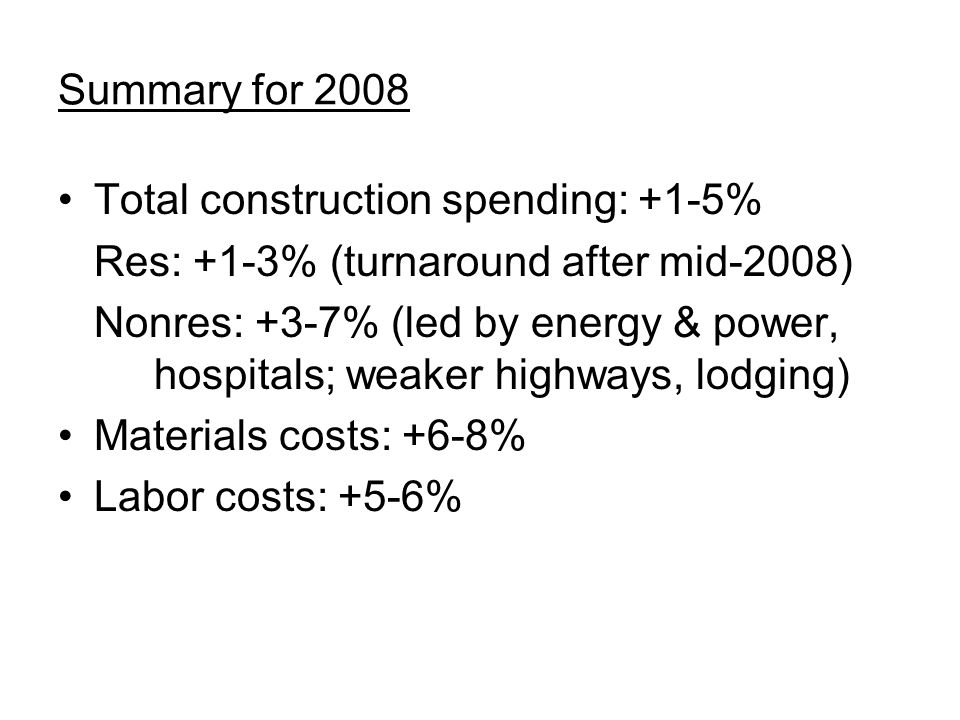 Summary for 2008 Total construction spending: +1-5% Res: +1-3% (turnaround after mid-2008) Nonres: +3-7% (led by energy & power, hospitals; weaker highways, lodging) Materials costs: +6-8% Labor costs: +5-6%