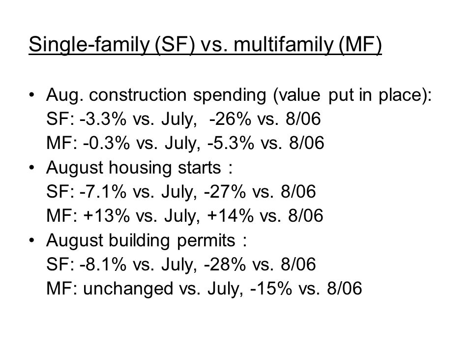 Housing outlook SF: No end yet to decline in permits, starts or spending Don't expect upturn before middle of '08 MF: Rental construction cushioned the fall in condo starts but now many owners are trying to rent out houses and condos Rate cut helps some buyers/homeowners but won't cure credit fraud worries