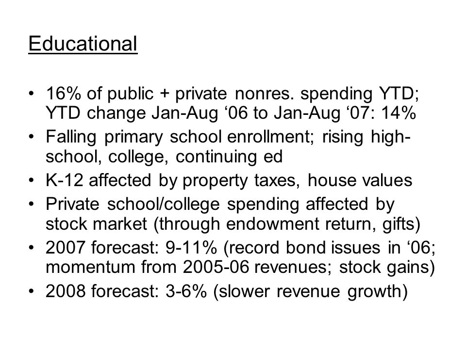 Educational 16% of public + private nonres. spending YTD; YTD change Jan-Aug '06 to Jan-Aug '07: 14% Falling primary school enrollment; rising high- s