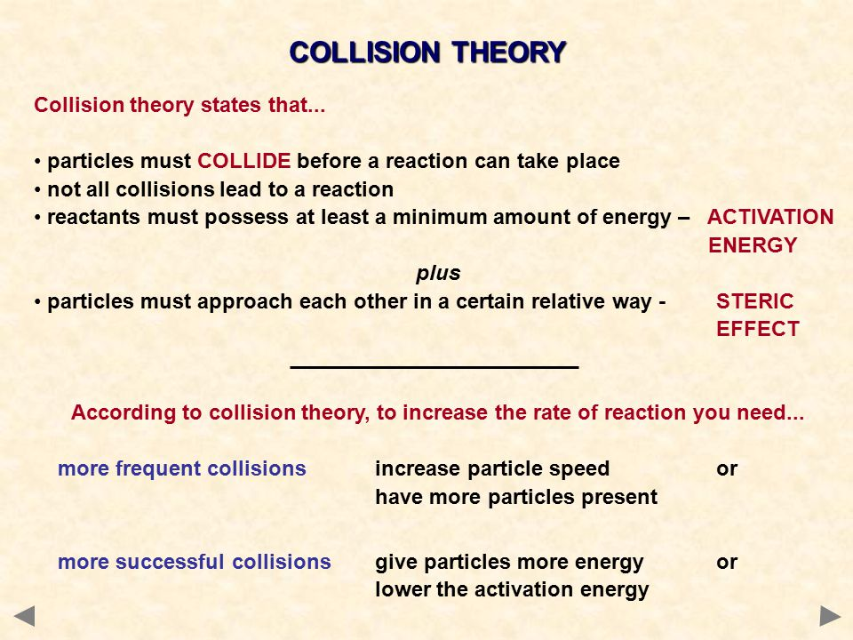 COLLISION THEORY Collision theory states that...