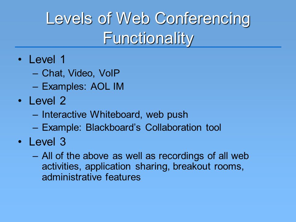 Levels of Web Conferencing Functionality Level 1 –Chat, Video, VoIP –Examples: AOL IM Level 2 –Interactive Whiteboard, web push –Example: Blackboard's Collaboration tool Level 3 –All of the above as well as recordings of all web activities, application sharing, breakout rooms, administrative features