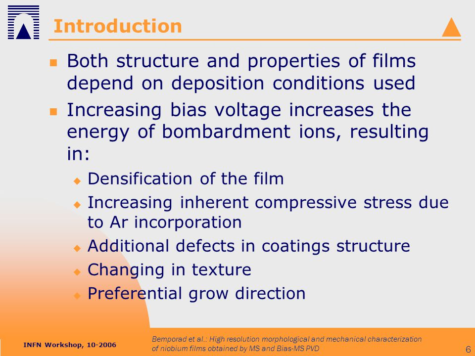 INFN Workshop, 10-2006 Bemporad et al.: High resolution morphological and mechanical characterization of niobium films obtained by MS and Bias-MS PVD 6 Introduction Both structure and properties of films depend on deposition conditions used Increasing bias voltage increases the energy of bombardment ions, resulting in:  Densification of the film  Increasing inherent compressive stress due to Ar incorporation  Additional defects in coatings structure  Changing in texture  Preferential grow direction