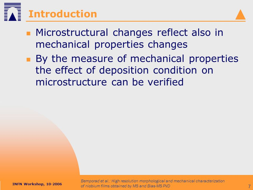 INFN Workshop, 10-2006 Bemporad et al.: High resolution morphological and mechanical characterization of niobium films obtained by MS and Bias-MS PVD 38 Micro morphology biased MS unbiased MS Cu substrate