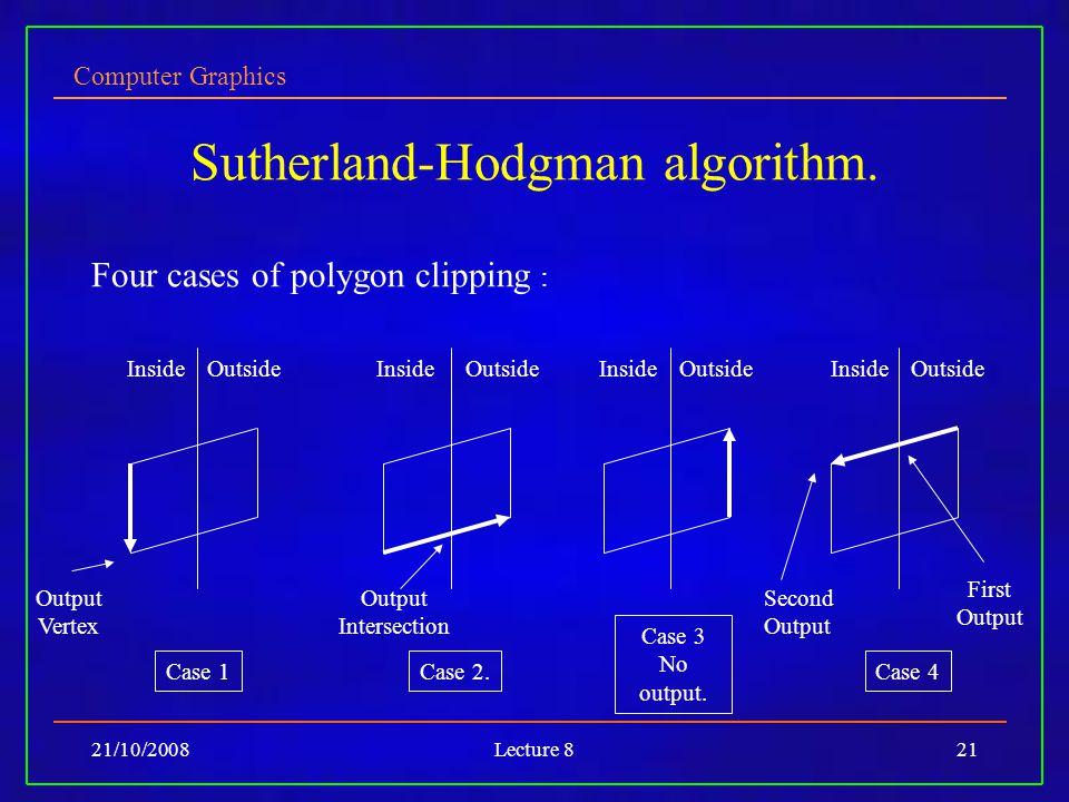 Computer Graphics 21/10/2008Lecture 821 Sutherland-Hodgman algorithm.