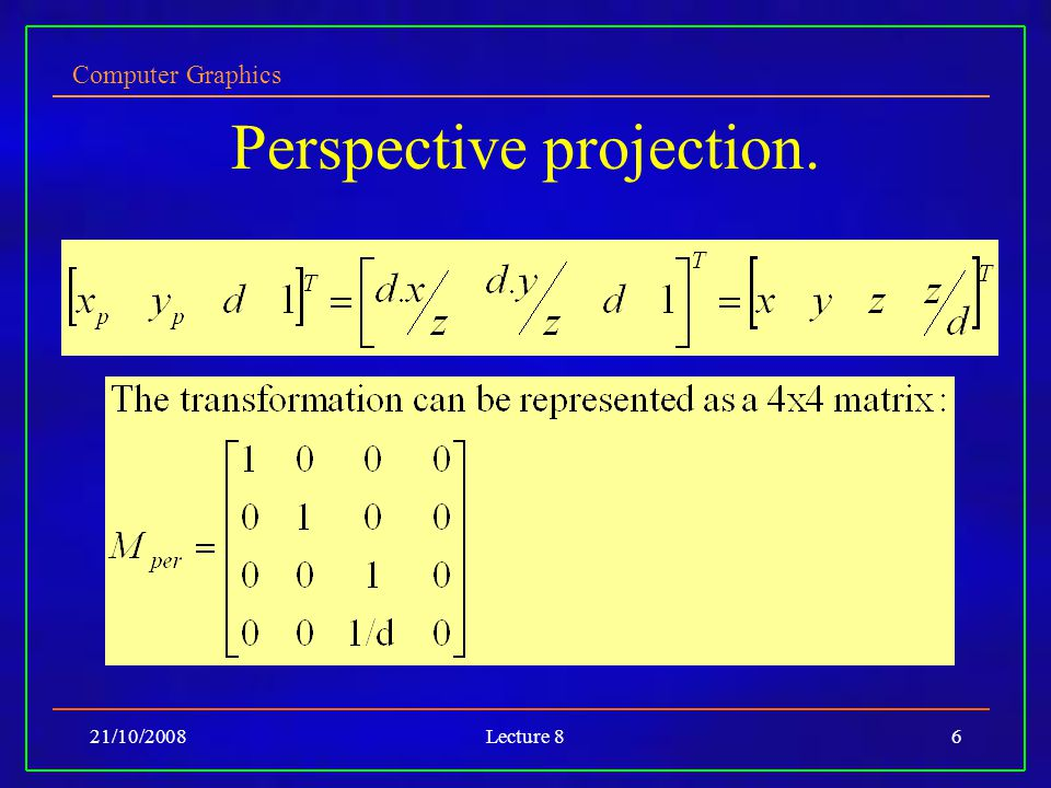 Computer Graphics 21/10/2008Lecture 86 Perspective projection.