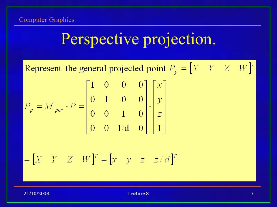 Computer Graphics 21/10/2008Lecture 87 Perspective projection.