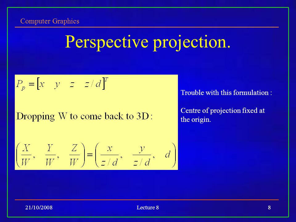 Computer Graphics 21/10/2008Lecture 88 Perspective projection.