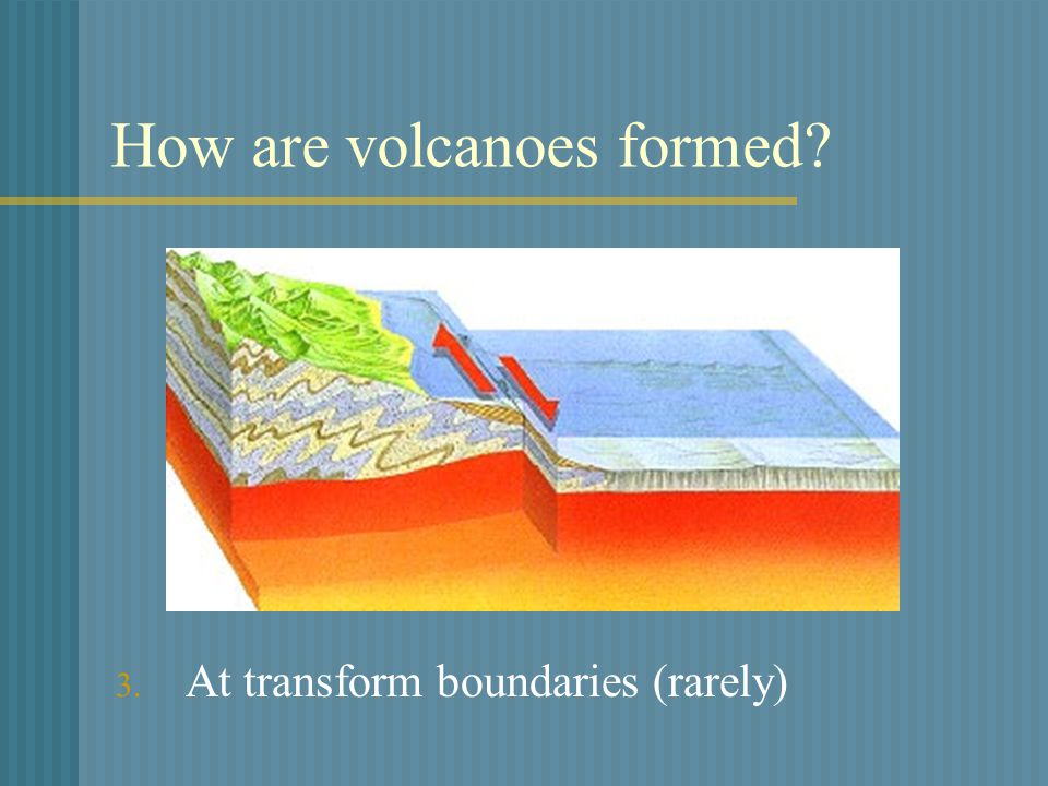 How are volcanoes formed 3. At transform boundaries (rarely)