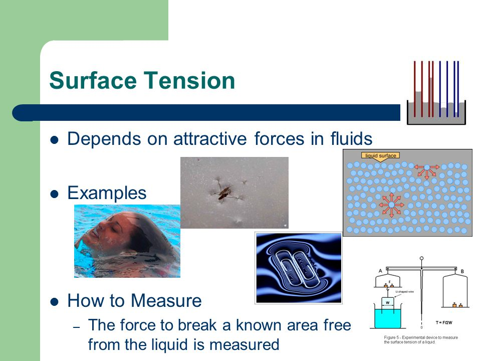 Surface Tension Depends on attractive forces in fluids Examples How to Measure – The force to break a known area free from the liquid is measured