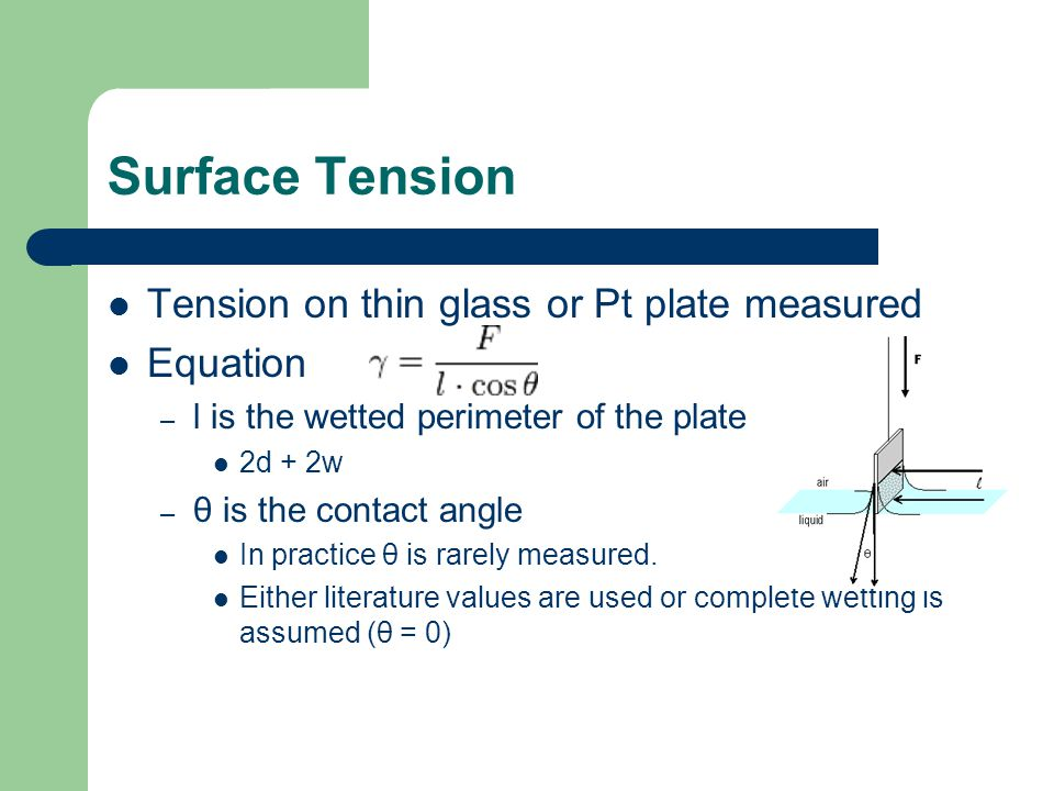 Surface Tension Tension on thin glass or Pt plate measured Equation – l is the wetted perimeter of the plate 2d + 2w – θ is the contact angle In practice θ is rarely measured.