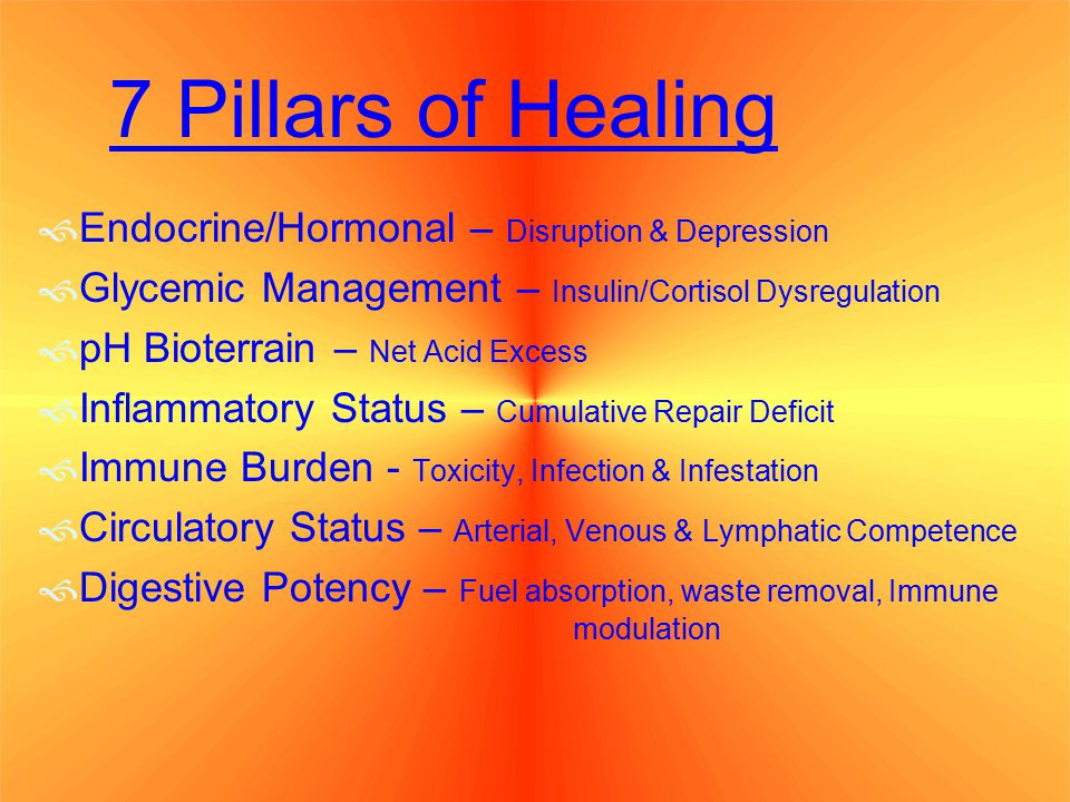 7 Pillars of Healing  Endocrine/Hormonal – Disruption & Depression  Glycemic Management – Insulin/Cortisol Dysregulation  pH Bioterrain – Net Acid Excess  Inflammatory Status – Cumulative Repair Deficit  Immune Burden - Toxicity, Infection & Infestation  Circulatory Status – Arterial, Venous & Lymphatic Competence  Digestive Potency – Fuel absorption, waste removal, Immune modulation