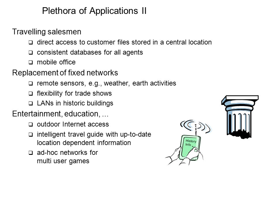 Plethora of Applications II Travelling salesmen  direct access to customer files stored in a central location  consistent databases for all agents  mobile office Replacement of fixed networks  remote sensors, e.g., weather, earth activities  flexibility for trade shows  LANs in historic buildings Entertainment, education,...