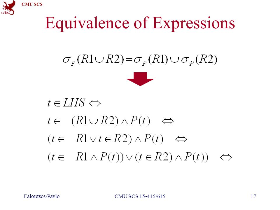 CMU SCS Equivalence of Expressions Faloutsos/PavloCMU SCS 15-415/61517