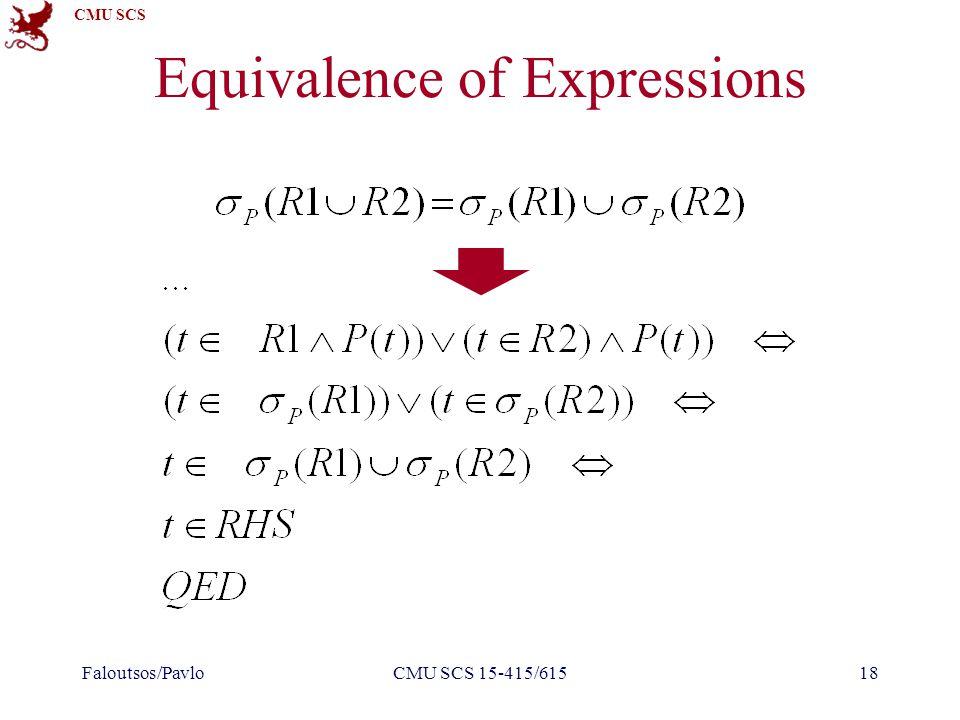 CMU SCS Equivalence of Expressions Faloutsos/PavloCMU SCS 15-415/61518