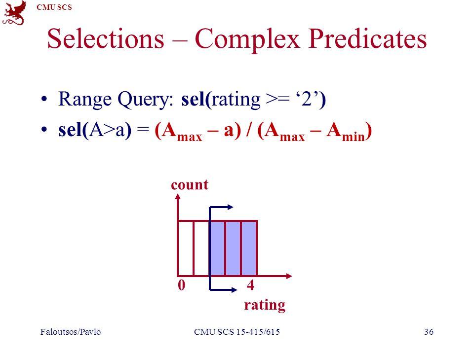 CMU SCS Range Query: sel(rating >= '2') sel(A>a) = (A max – a) / (A max – A min ) Selections – Complex Predicates Faloutsos/PavloCMU SCS 15-415/61536 rating count 40