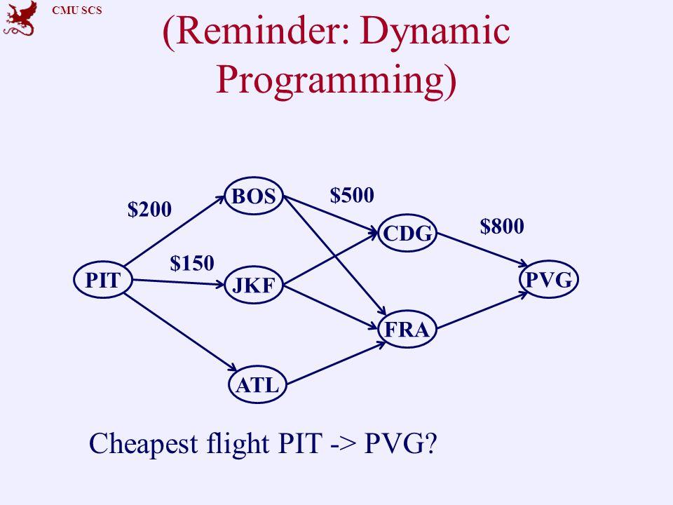 CMU SCS (Reminder: Dynamic Programming) PIT CDG ATL PVG BOS FRA JKF $200 $150 $500 Cheapest flight PIT -> PVG.