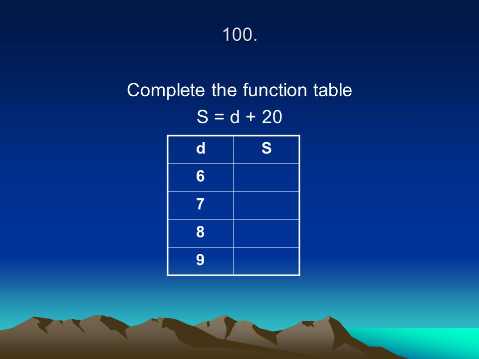 100. Complete the function table S = d + 20 dS 6 7 8 9