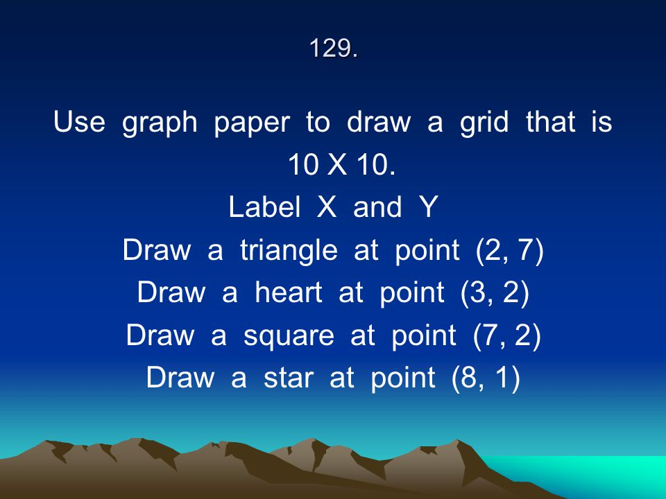 129. Use graph paper to draw a grid that is 10 X 10. Label X and Y Draw a triangle at point (2, 7) Draw a heart at point (3, 2) Draw a square at point
