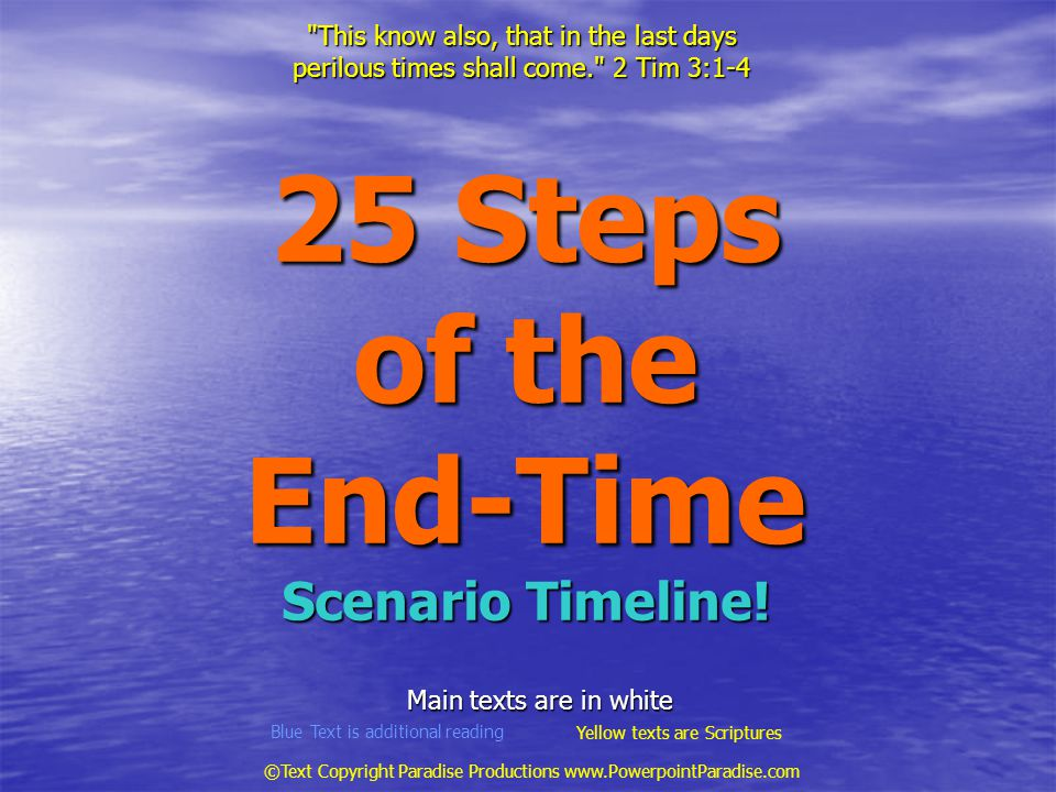 25 Steps of the End-Time Scenario Timeline.