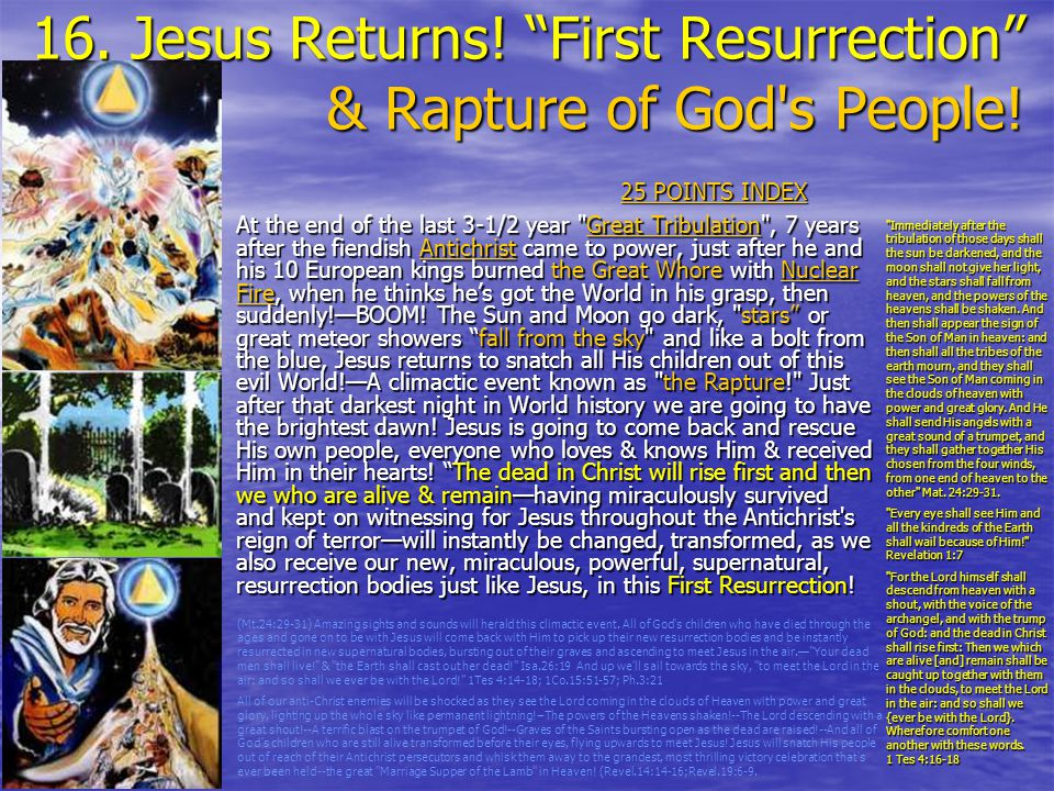 16.Jesus Returns. First Resurrection & Rapture of God s People.