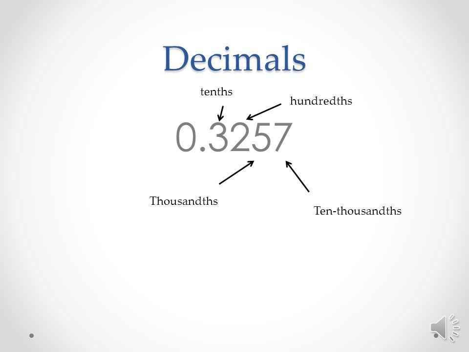 Decimals 0.3257 tenths hundredths Thousandths Ten-thousandths