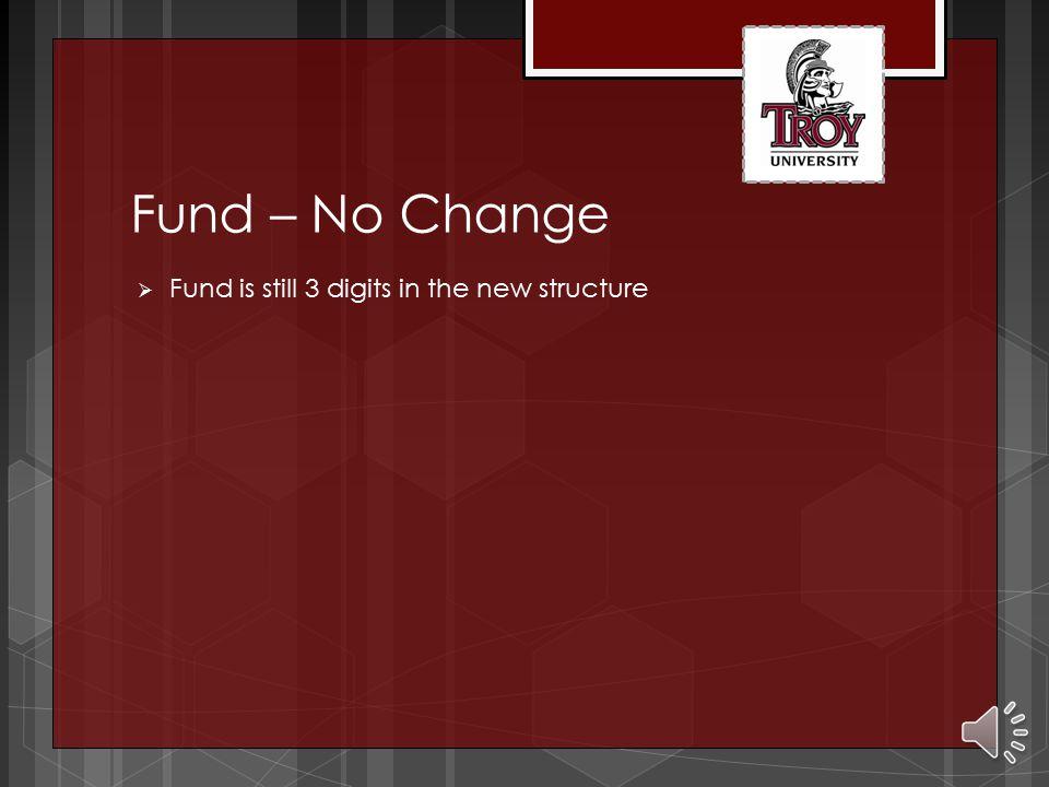 Fund – No Change  Fund is still 3 digits in the new structure