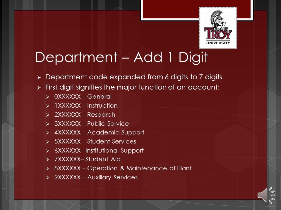 Department – Add 1 Digit  Department code expanded from 6 digits to 7 digits  First digit signifies the major function of an account:  0XXXXXX – General  1XXXXXX – Instruction  2XXXXXX – Research  3XXXXXX – Public Service  4XXXXXX – Academic Support  5XXXXXX – Student Services  6XXXXXX– Institutional Support  7XXXXXX– Student Aid  8XXXXXX – Operation & Maintenance of Plant  9XXXXXX – Auxiliary Services