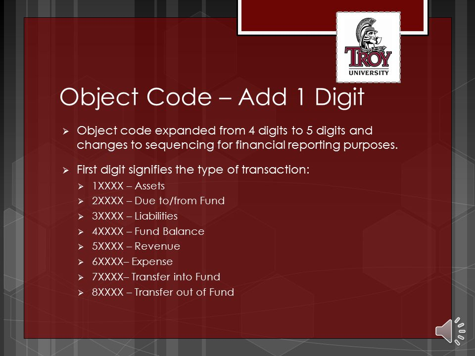 Department – Add 1 Digit  Department code expanded from 6 digits to 7 digits  First digit signifies the major function of an account:  0XXXXXX – Ge
