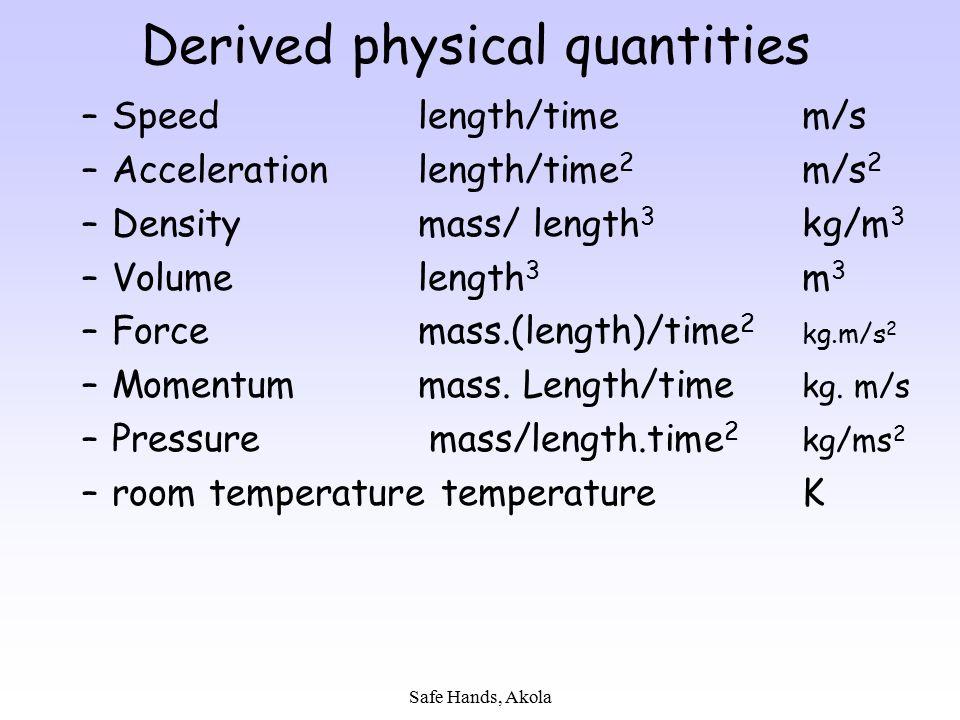 Safe Hands, Akola Derived physical quantities –Speedlength/timem/s –Accelerationlength/time 2 m/s 2 –Densitymass/ length 3 kg/m 3 –Volumelength 3 m 3
