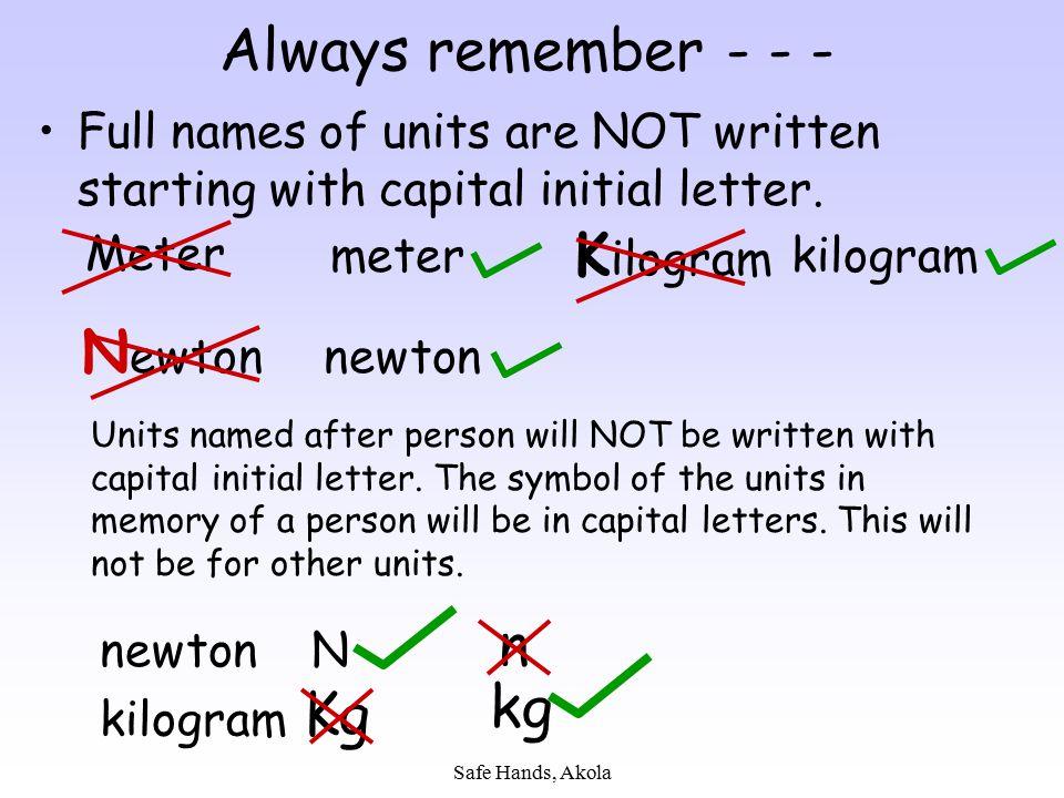 Safe Hands, Akola Always remember - - - Full names of units are NOT written starting with capital initial letter. Meter meter K ilogram kilogram N ewt
