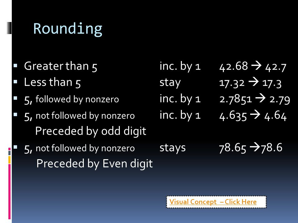 Rounding  Greater than 5inc. by 142.68  42.7  Less than 5stay17.32  17.3  5, followed by nonzero inc. by 12.7851  2.79  5, not followed by nonz