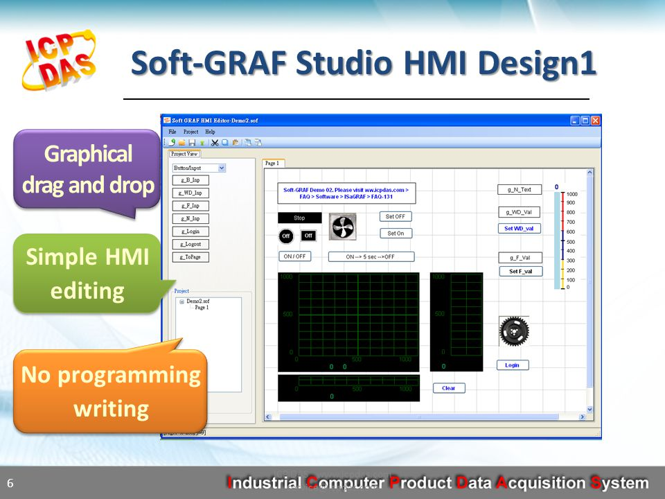 Soft-GRAF Studio HMI Design1 ICP DAS www.icpdas.com service@icpdas.com 6 Simple HMI editing Graphical drag and drop Graphical drag and drop No programming writing