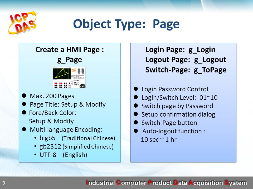 Objects Overview ICP DAS www.icpdas.com service@icpdas.com 8 Page Text Picture Dynamic Static Numeric Display Input Moving Trace Bar-Meter Page Text Picture Dynamic Static Numeric Display Input Moving Trace Bar-Meter