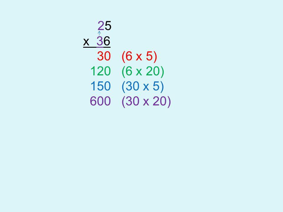 25 x 36 30 (6 x 5) 120 (6 x 20) 150 (30 x 5) 600 (30 x 20)