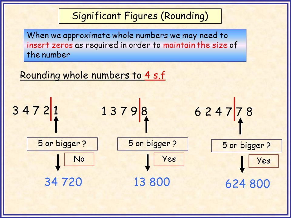 Significant Figures (Rounding) When we approximate whole numbers we may need to insert zeros as required in order to maintain the size of the number Rounding whole numbers to 3 s.f 5 4 7 2 5 or bigger .