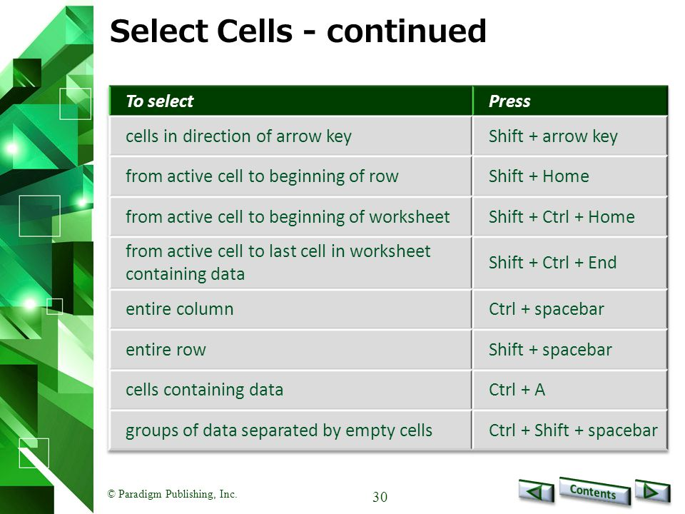 © Paradigm Publishing, Inc. 30 Select Cells - continued