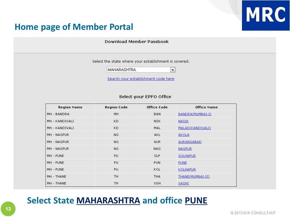 © 2013 M R CONSULTANT 13 Home page of Member Portal Select State MAHARASHTRA and office PUNE