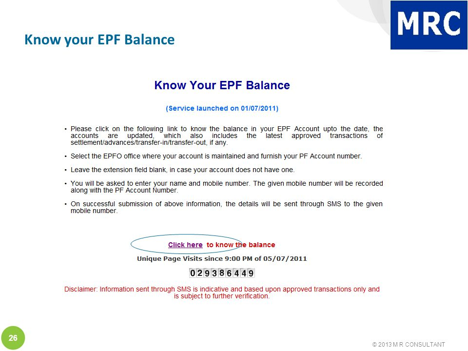 © 2013 M R CONSULTANT 26 Know your EPF Balance
