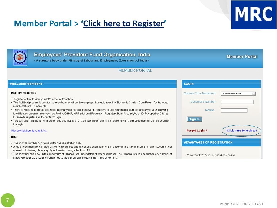 © 2013 M R CONSULTANT 7 Member Portal > 'Click here to Register'