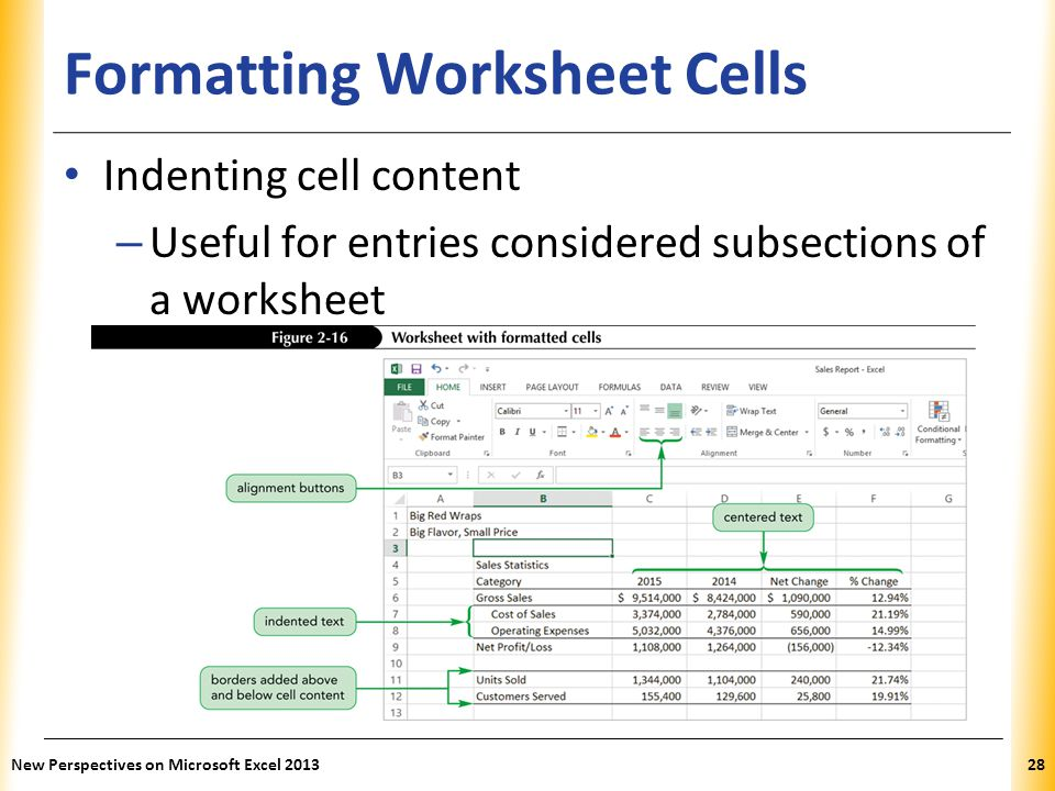 XP Formatting Worksheet Cells Indenting cell content – Useful for entries considered subsections of a worksheet New Perspectives on Microsoft Excel 20