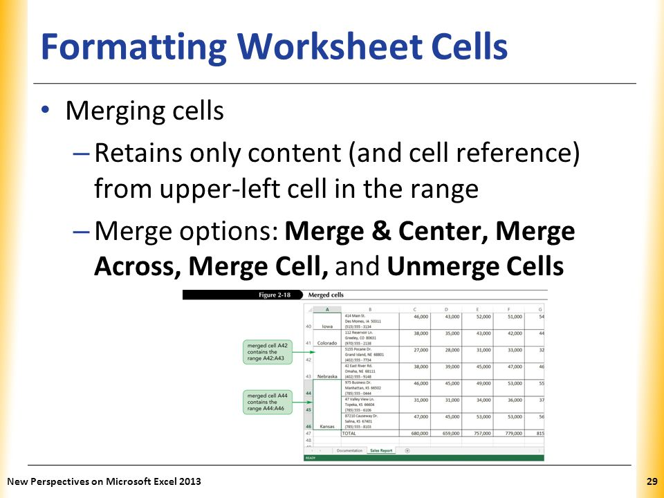 XP Formatting Worksheet Cells Merging cells – Retains only content (and cell reference) from upper-left cell in the range – Merge options: Merge & Cen