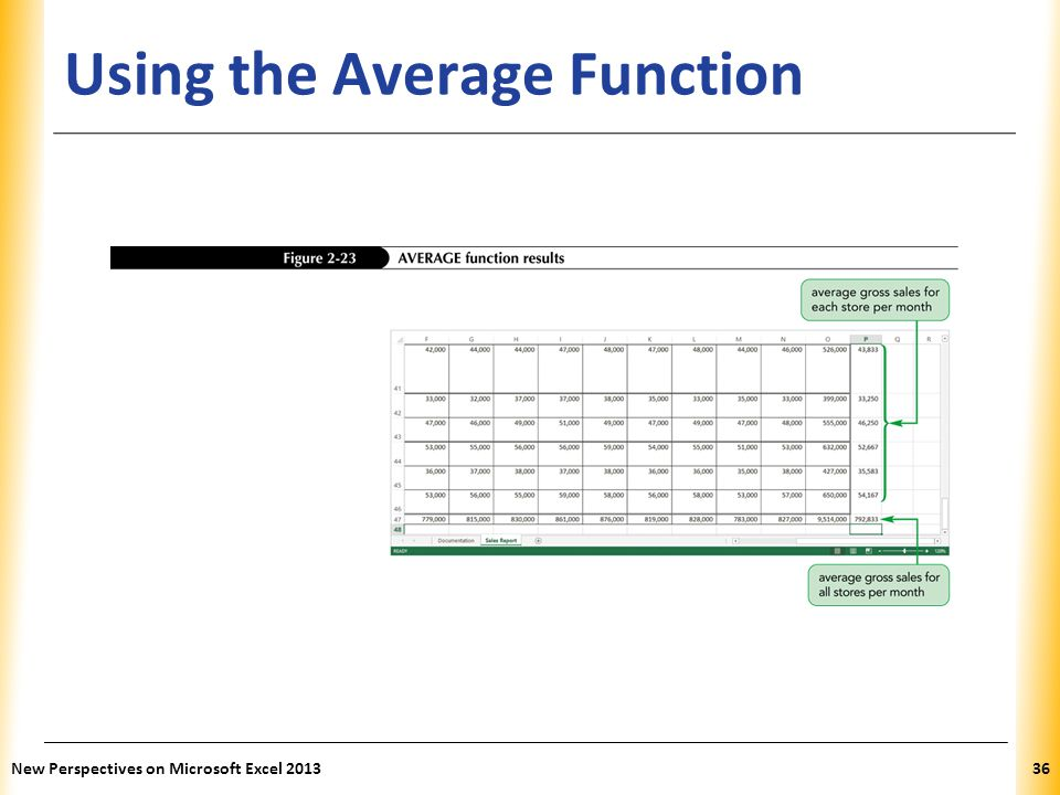 XP Using the Average Function New Perspectives on Microsoft Excel 201336