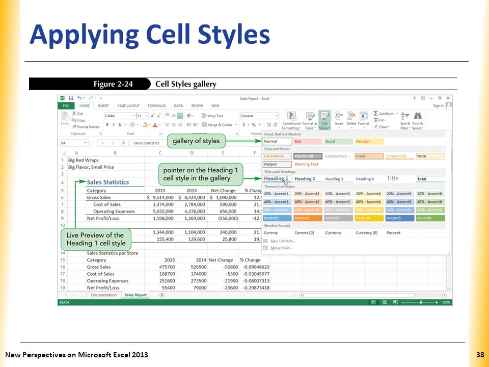 XP Applying Cell Styles New Perspectives on Microsoft Excel 201338