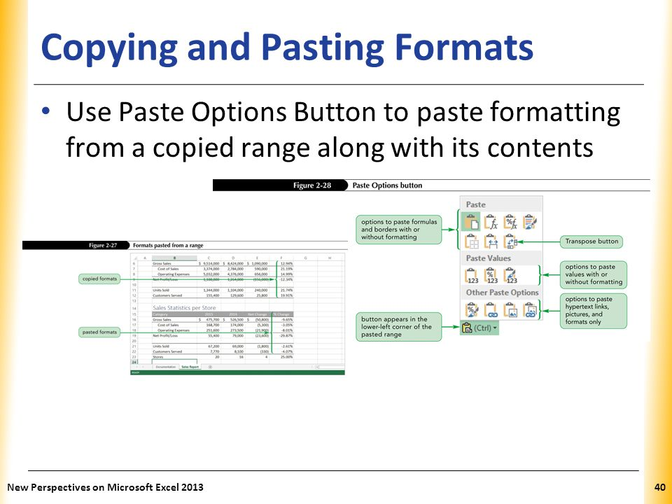 XP Copying and Pasting Formats Use Paste Options Button to paste formatting from a copied range along with its contents New Perspectives on Microsoft