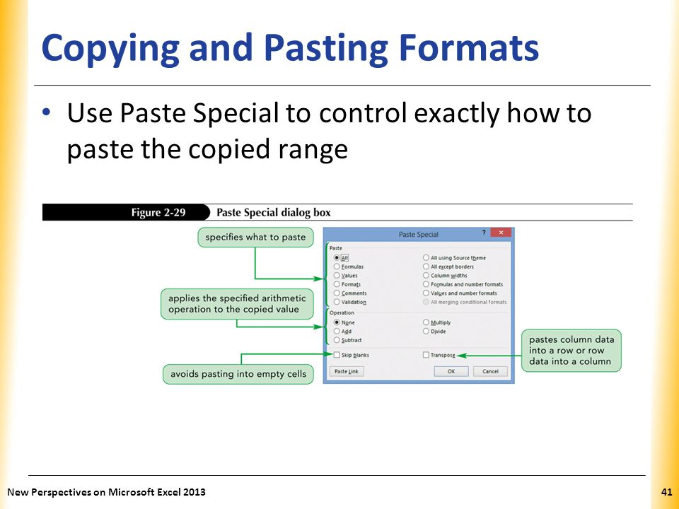 XP Copying and Pasting Formats Use Paste Special to control exactly how to paste the copied range New Perspectives on Microsoft Excel 201341
