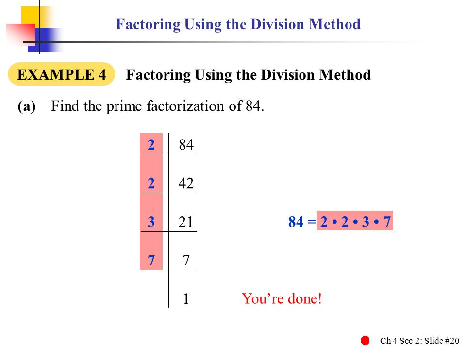 Ch 4 Sec 2: Slide #20 Factoring Using the Division Method (a) Find the prime factorization of 84. EXAMPLE 4 Factoring Using the Division Method 284 24