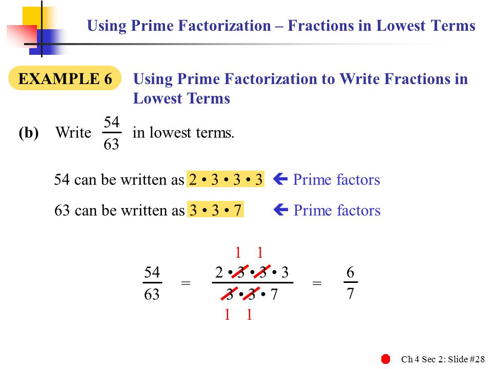 Ch 4 Sec 2: Slide #28 Using Prime Factorization – Fractions in Lowest Terms (b) Write in lowest terms.