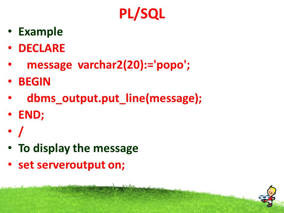 PL/SQL Reverse given no declare n int; b int; r int:=0; begin n:=&n; while n >0 loop b:= n mod 10; r:= r*10+b; n:=floor(n/10); end loop; dbms_output.put_line(r); end; Output Enter value of n 1234 4321 floor()  returns integer value